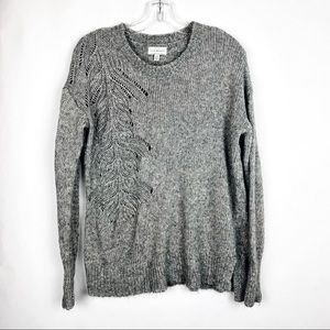 Lucky Brand Open Knit Feather Design Sweater